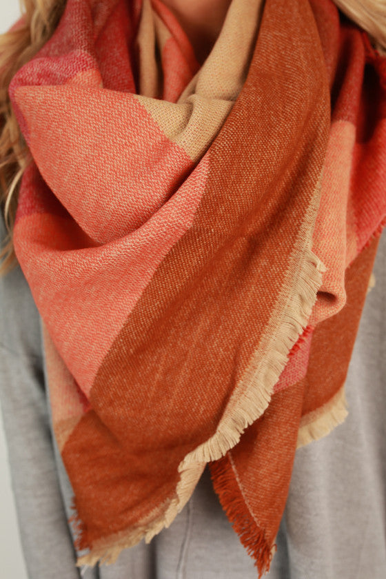 Cozy and Colorful Blanket Scarf in Orange