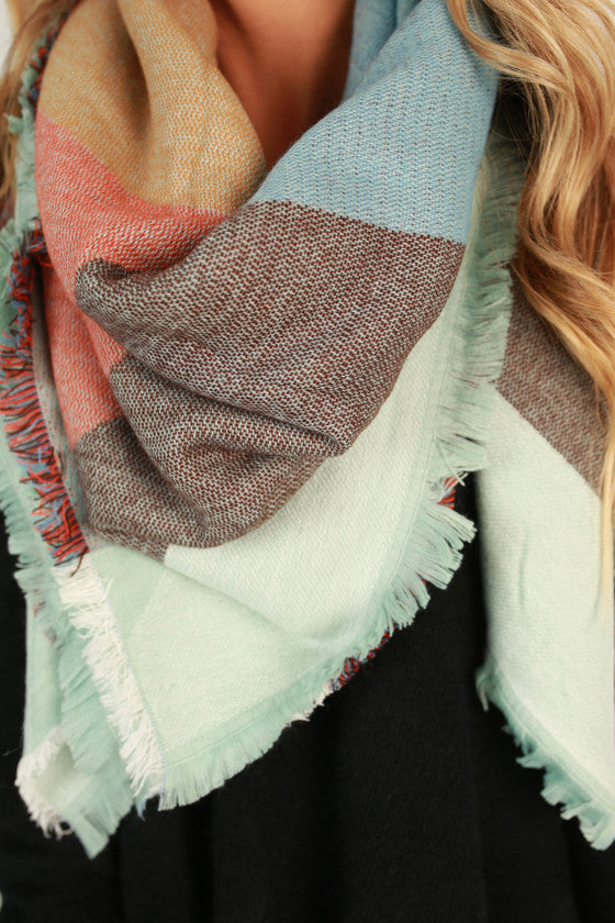 Cozy and Colorful Blanket Scarf in Sky Blue