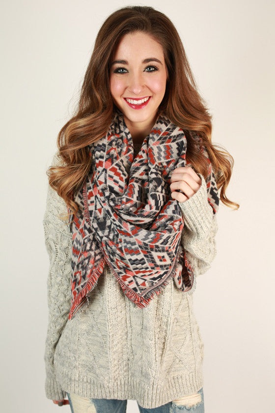 Playful in Prints Blanket Scarf in Navy