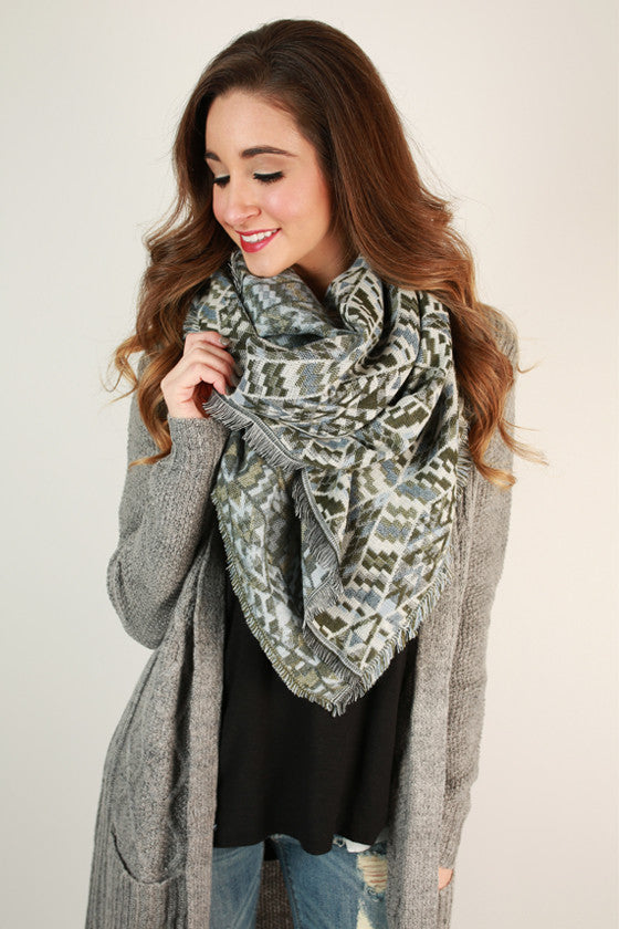 Playful in Prints Blanket Scarf in Army Green