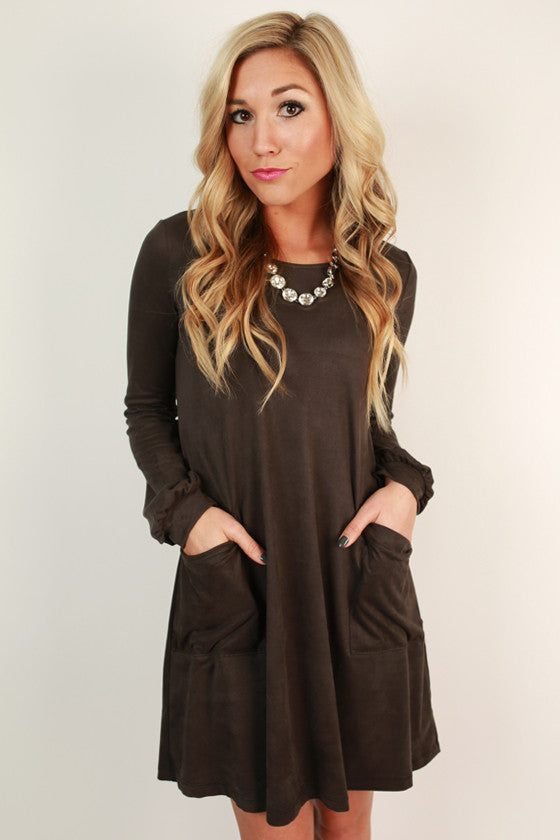 Pockets For Prosecco Shift Dress in Charcoal