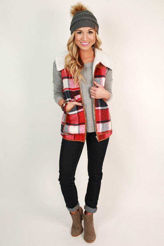 Cause For Cocoa Plaid Vest