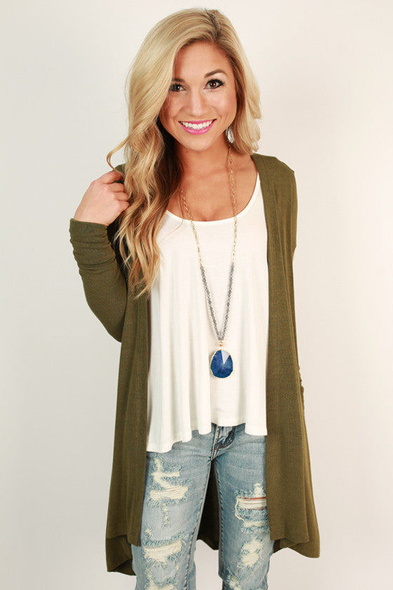 Chalet Cozy Cardigan in Army Green
