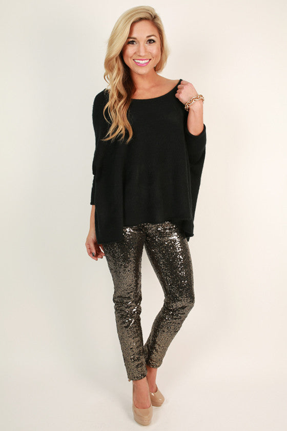 Swoon Worthy Sequin Leggings in Gold