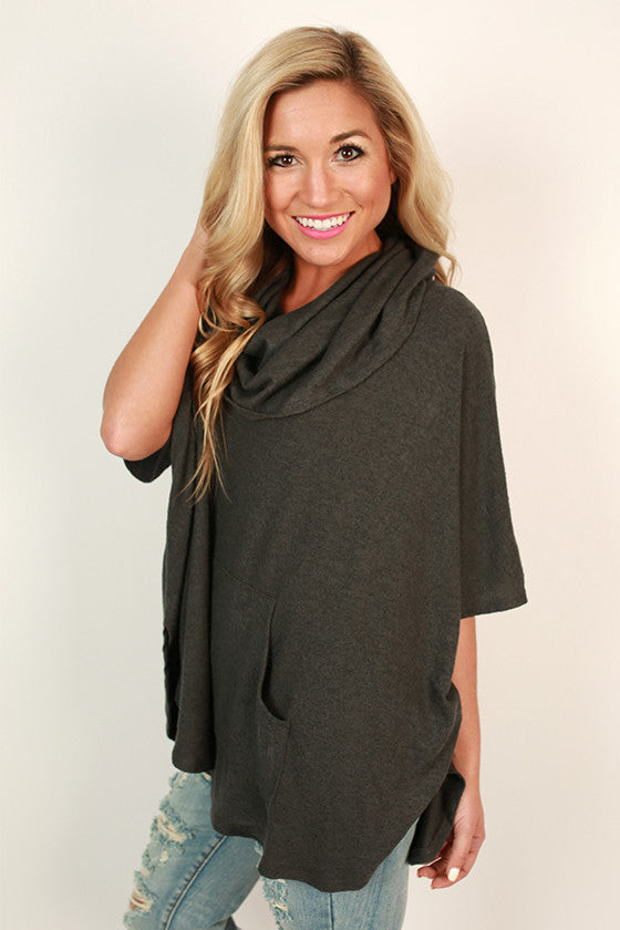 Cashmere Touch Pocket Sweater in Charcoal