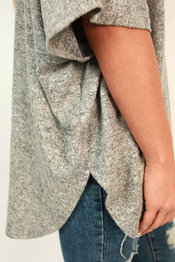 Cashmere Touch Pocket Sweater in Grey
