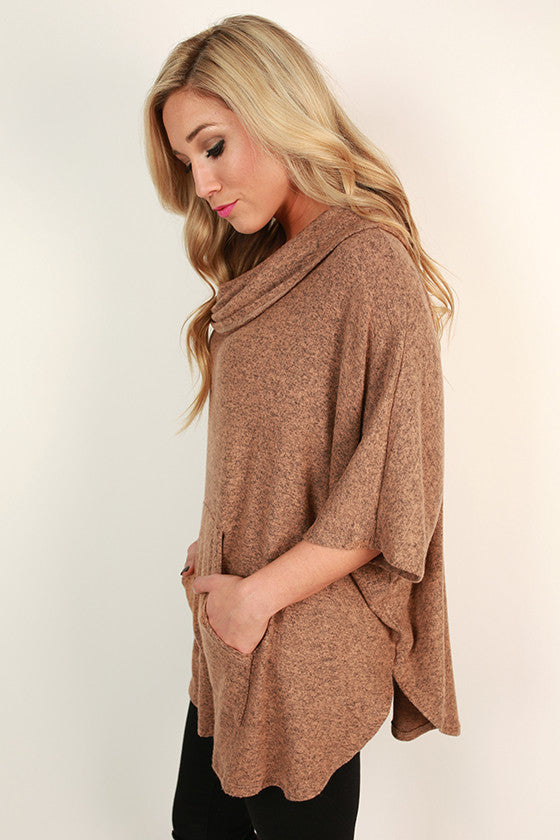 Cashmere Touch Pocket Sweater in Camel