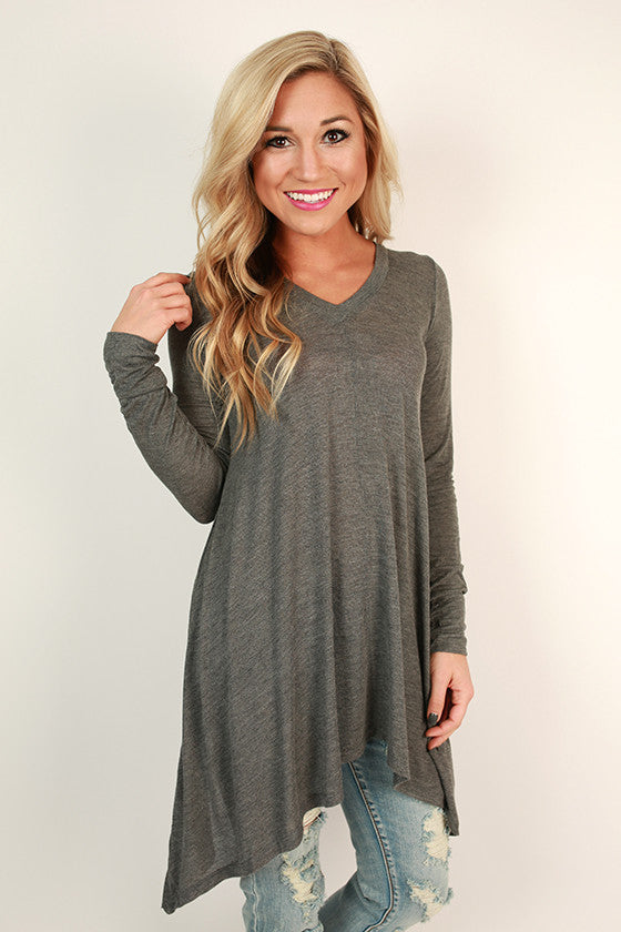 Swing On By Tunic in Dark Grey