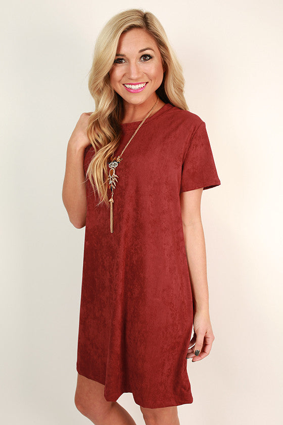 Suede Sweetheart T-shirt Dress in Rusty Red