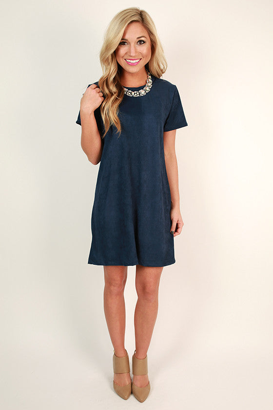 Suede Sweetheart T-shirt Dress in Cobalt