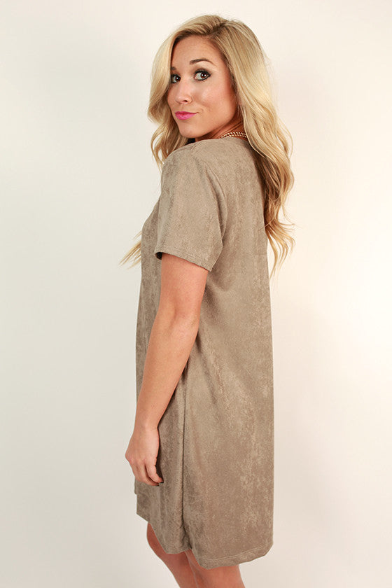 Suede Sweetheart T-shirt Dress in Taupe