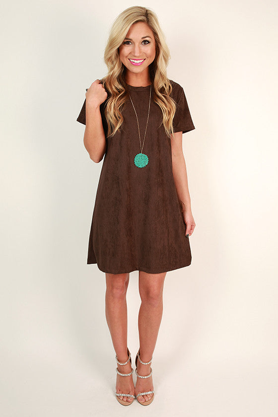 Suede Sweetheart T-shirt Dress in Chestnut