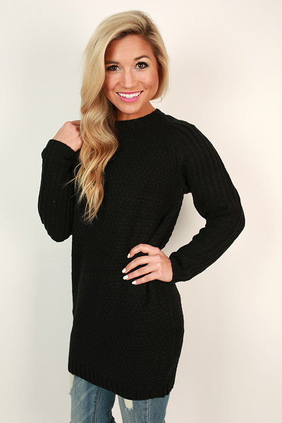 Sonoma Sipping Tunic Sweater in Black