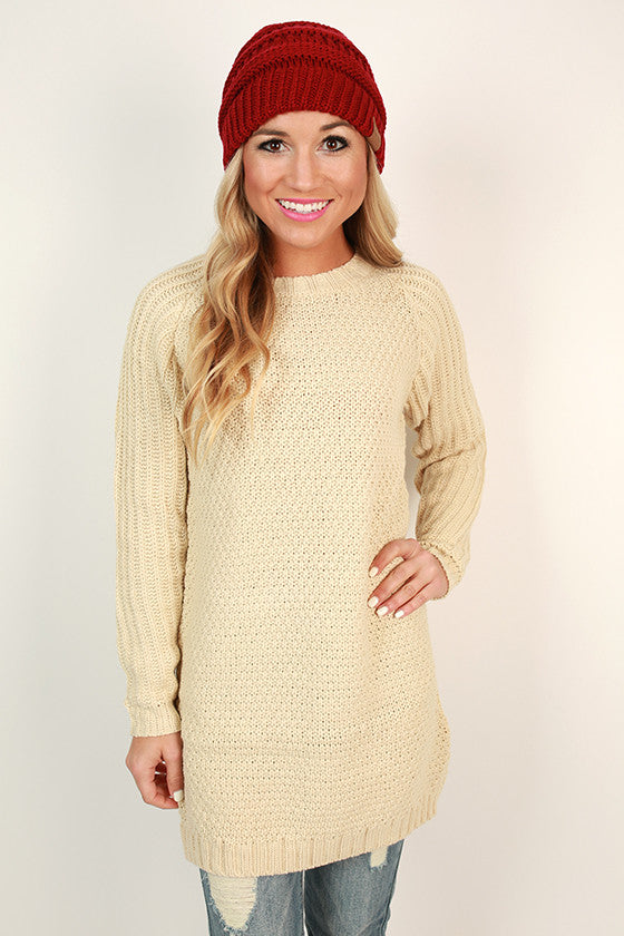 Sonoma Sipping Tunic Sweater in Cream