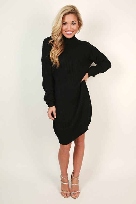 Coffee Shop Cuddles Tunic Sweater in Black