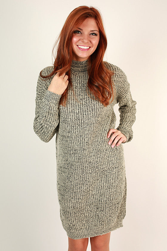 Coffee Shop Cuddles Tunic Sweater in Grey