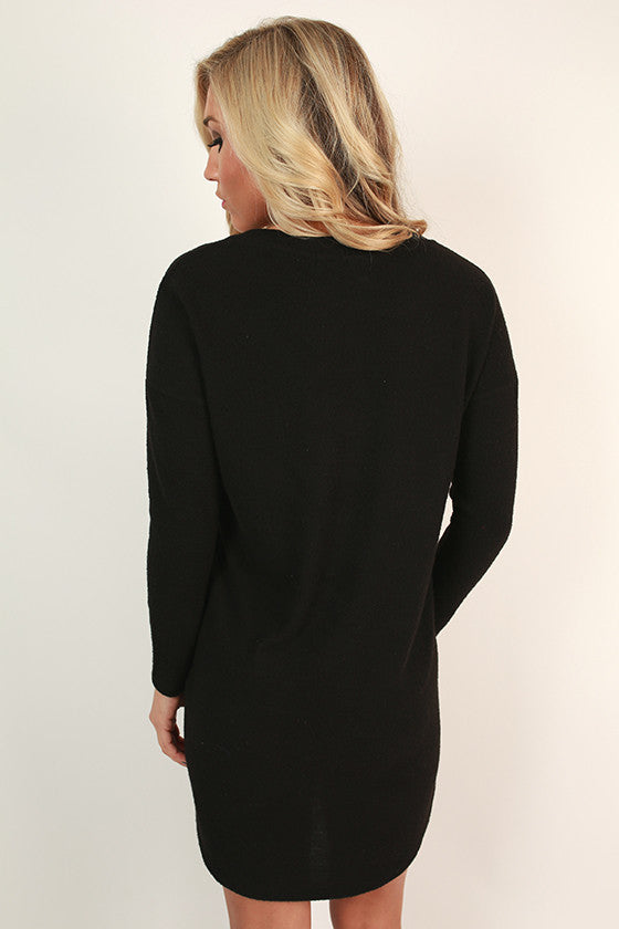 Coffee & Cozy Tunic Sweater in Black