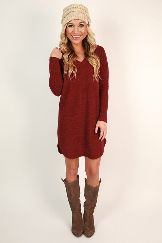 Coffee & Cozy Tunic Sweater in Cabernet