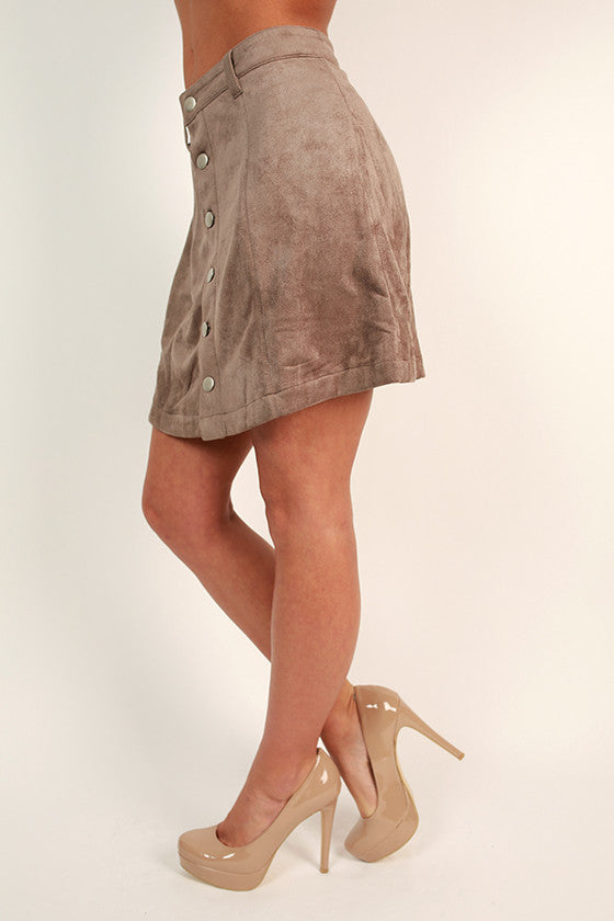 Skyline Views Faux Suede Skirt in Taupe