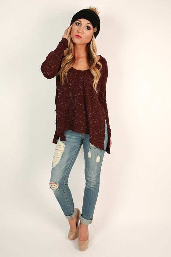 Cottage Cuddles Top in Burgundy