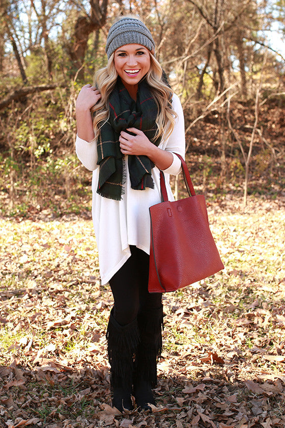 Cozy & Cabernet Sweater in White