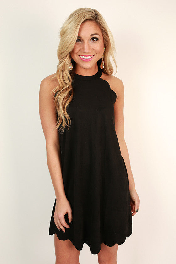 Soho Spotlight Faux Suede Shift Dress in Black