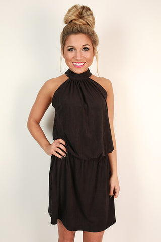 Champagne Chic Faux Suede Dress In Black Impressions Online Boutique