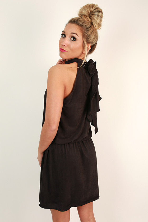 Champagne Chic Faux Suede Dress in Black