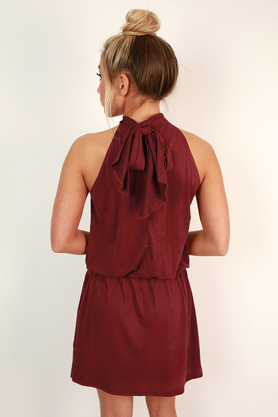 Champagne Chic Faux Suede Dress in Cabernet