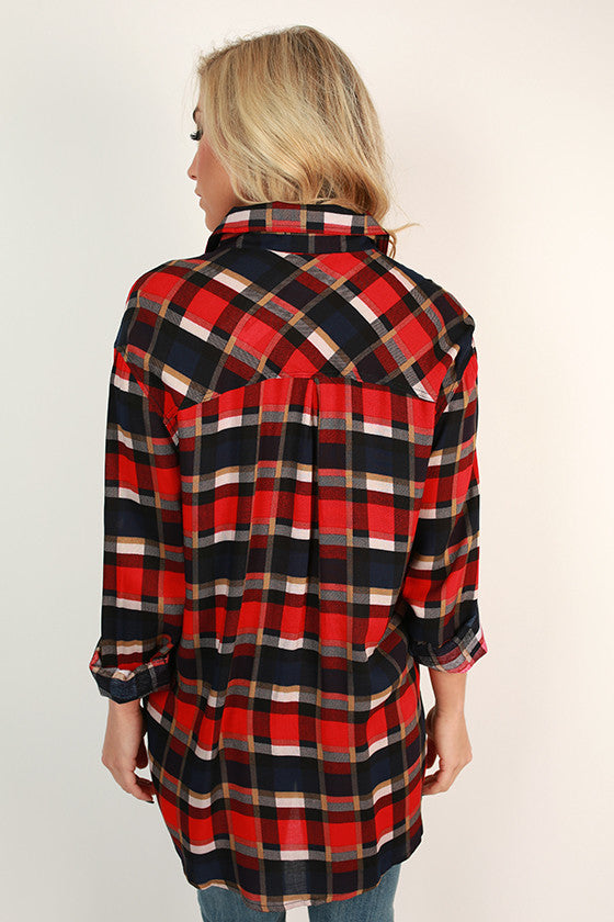 Road Trip Plaid Button Up Top in Tomato
