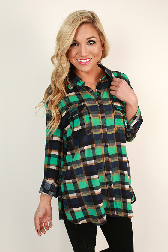 Road Trip Plaid Button Up Top in Turquoise