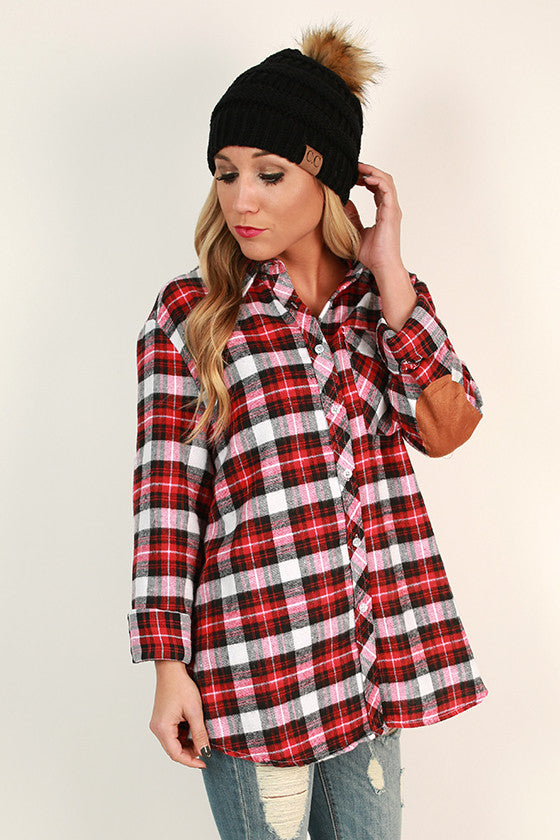 Mistletoe Plaid Button Up Top