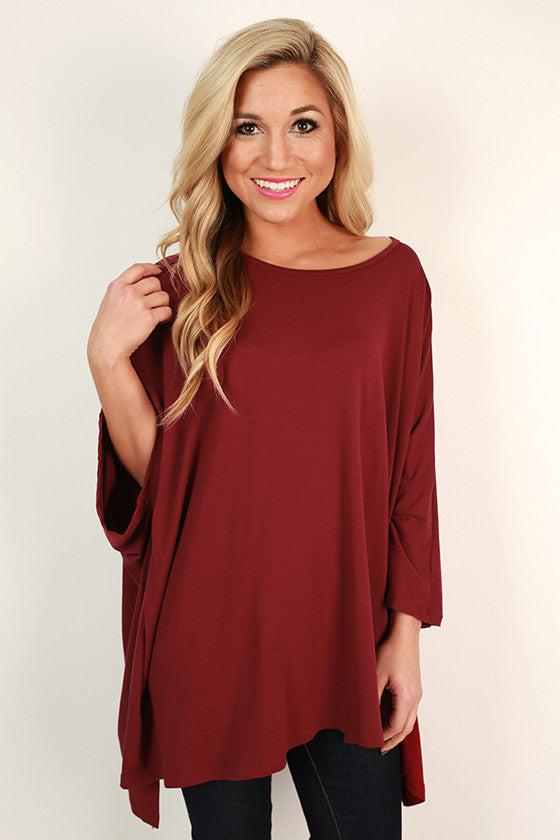 Rain Dance Top in Ruby Wine