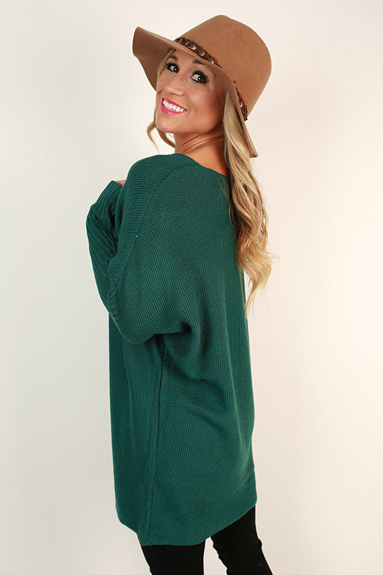 Weekend At The Cabin Tunic Sweater in Teal