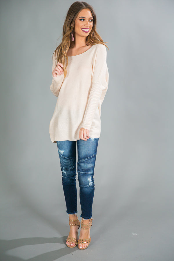 Weekend At The Cabin Tunic Sweater in Cream