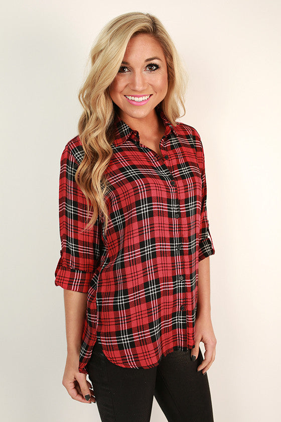Cocoa Cuddles Plaid Top