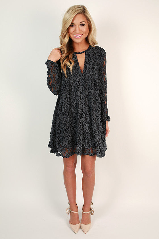 Elegant Hostess Shift Dress in Slate