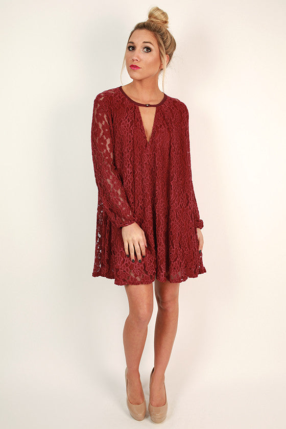 Elegant Hostess Shift Dress in Sangria