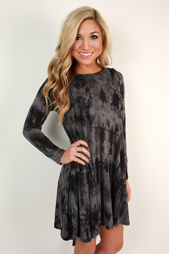 Southern Sweetness Shift Dress in Dark Grey