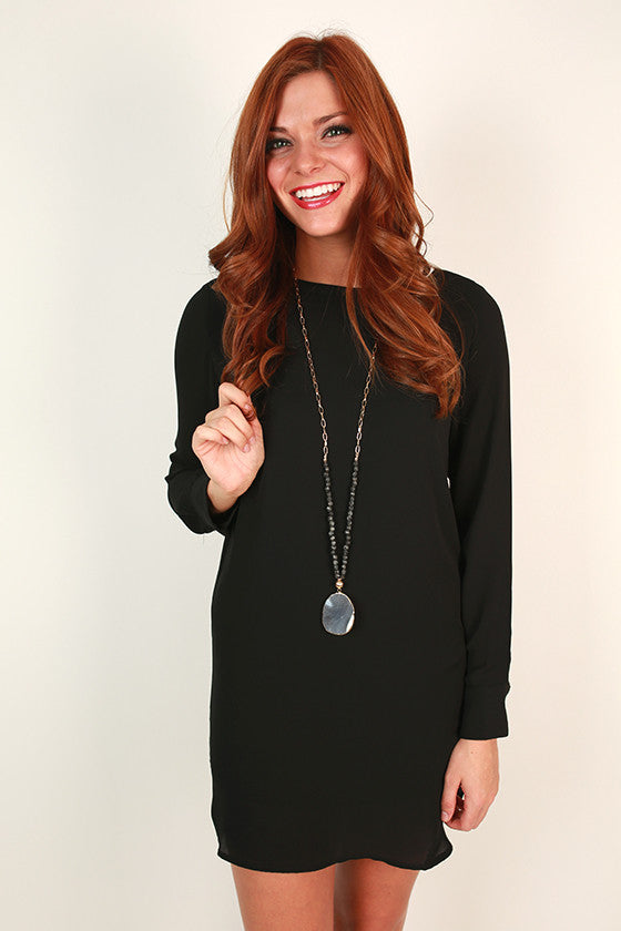 Weekend in Vermont Shift Dress in Black
