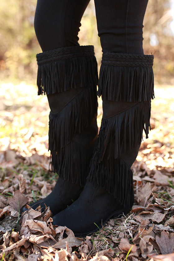 Witty Giddy Fringe Boot in Black