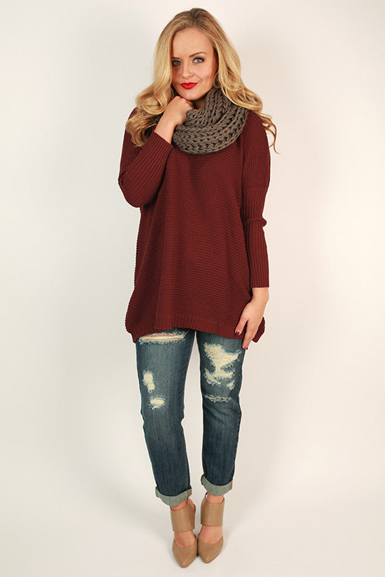 Merlot In The Mountains Sweater in Maroon