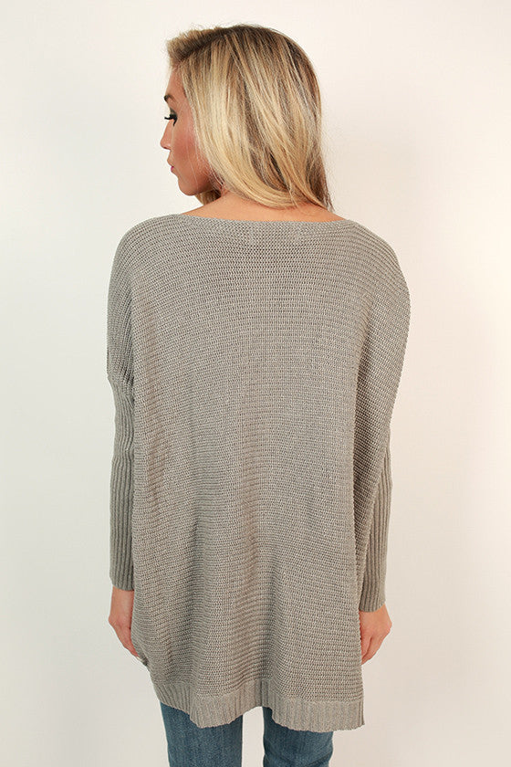 Merlot In The Mountains Sweater in Grey