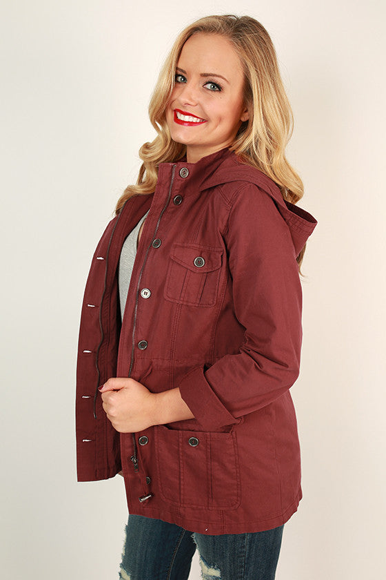 Travel Time Cargo Jacket in Ruby Wine