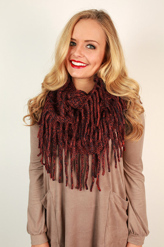 Cozy Cuddles Marled Infinity Scarf in Crimson