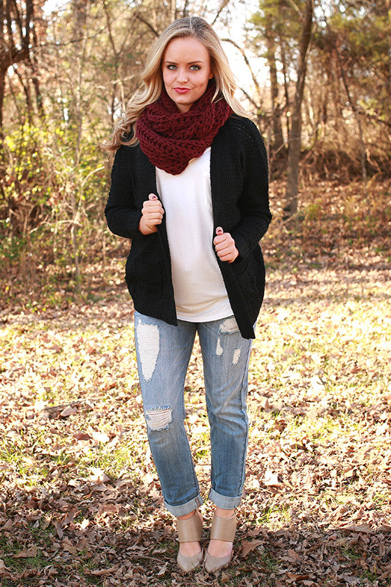 Cappuccino Cuddles Infinity Scarf in Cabernet