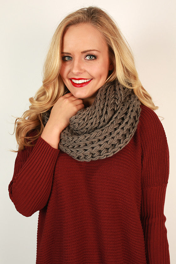 Cappuccino Cuddles Infinity Scarf in Dark Grey