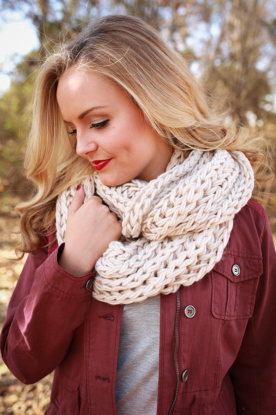 Cappuccino Cuddles Infinity Scarf in Stone