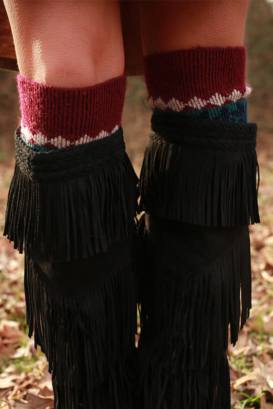 Cocoa Cuddles Sweater Sock in Maroon