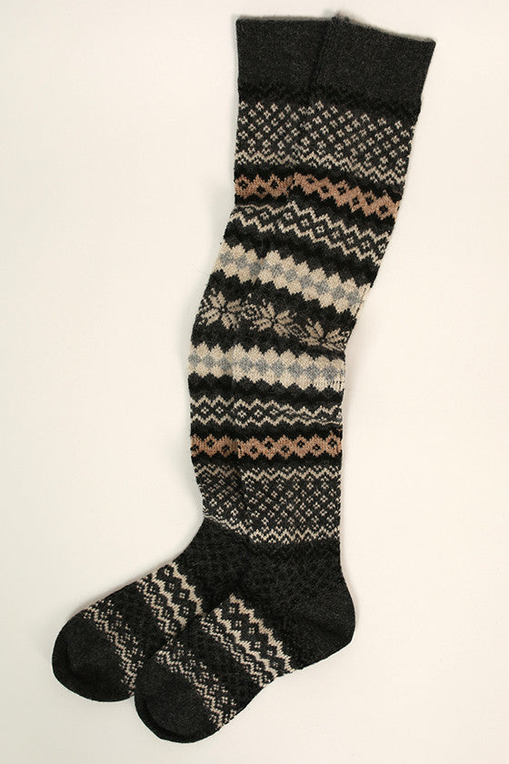 Latte Love Sweater Sock in Dark Grey